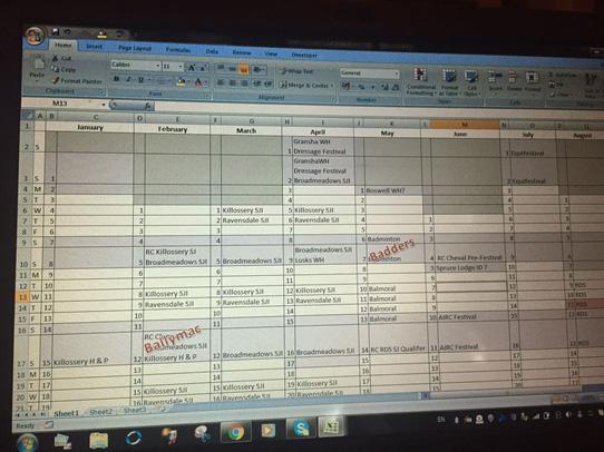 Eventing-spreadheet